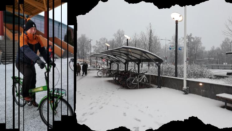 Kuva talvipyöräilystä