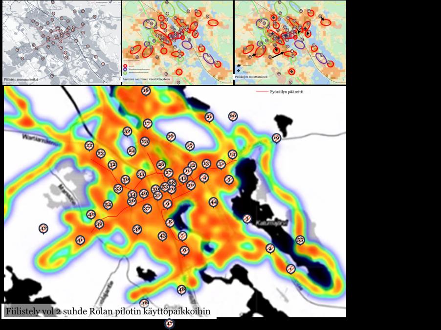 Karttakuva mahdollisista kaupunkipyöräasemista