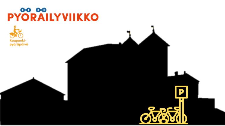 Kuvituskuva, missä Hämeen linnan silhuetin edessä kaupunkipyöräasema